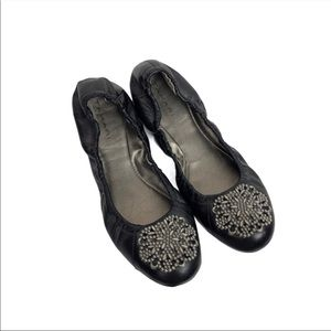 Tahari Valerie Ballet Flats Black Silver 7.5